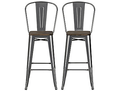 "Luxor 30"" Bar Stool Set of 2, Grey, large"