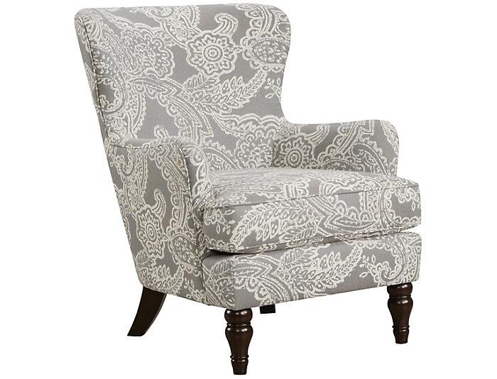 Omni Paisley Accent Chair Grey Ivory Art Van Home