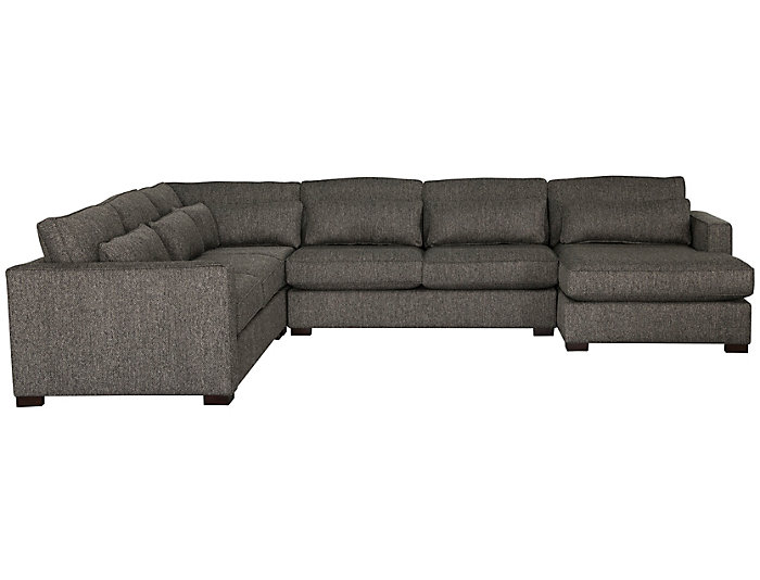 Ambassador 4 Piece Right-Arm Facing Chaise Sectional, Grey, , large