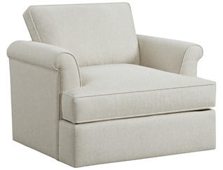 Lafayette Swivel Chair, Ivory, Ivory, large