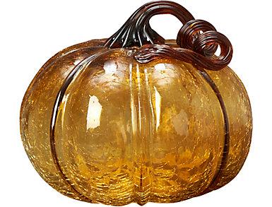 """5.5"""" Glass Pumpkin, Amber, , large"""