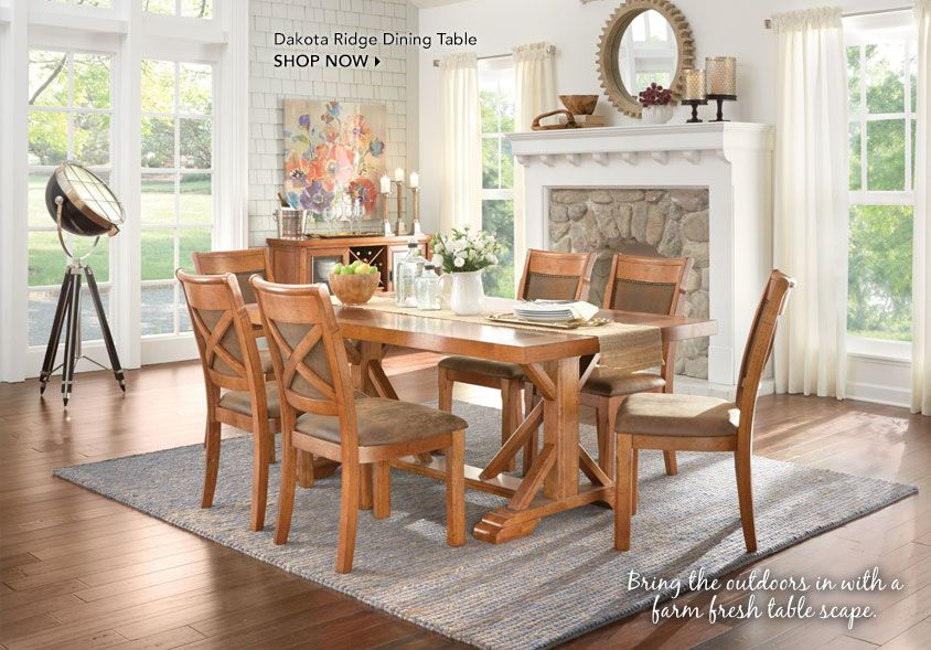 Bring the outdoors in with a farm fresh table scape. Dakota Ridge Dining Table. Shop Now.