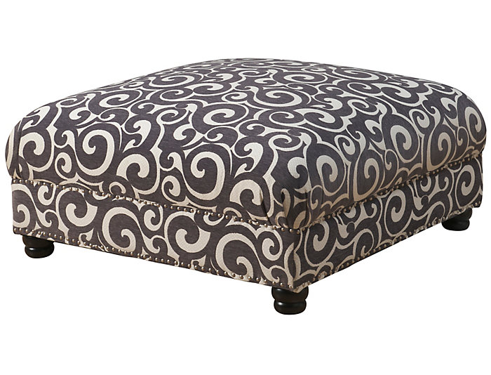 Hutton II Cocktail Ottoman, Grey, Grey, large