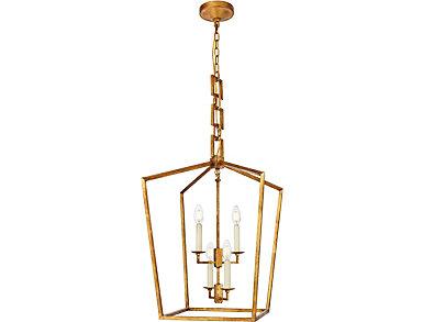 Denmark 4 Light Golden Iron Pendant, , large