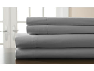 King 400 Thread Count Cotton Sheet Set, Grey, , large