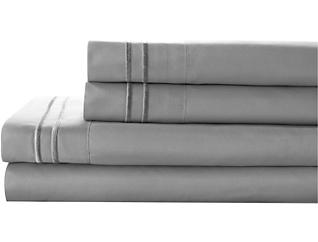 Microfiber King Sheet Set, Grey, , large
