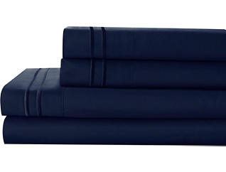Microfiber Queen Sheet Set, Navy, , large