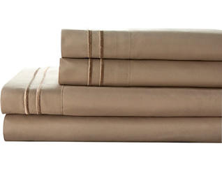 Microfiber Queen Sheet Set, Taupe, , large