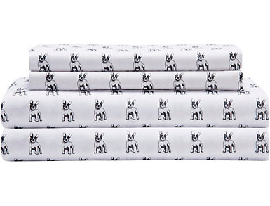 Twin Microfiber Print Sheet Set, Bulldog, , large