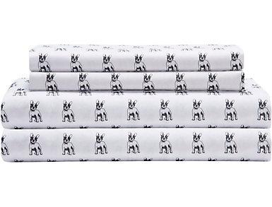 Whimsical Microfiber Bulldog Twin XL Sheet Set, , large