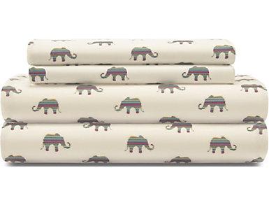 Full Print Sheet Set, Elephant, Cream, , large