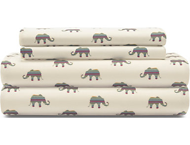 Whimsical Microfiber Elephant Cream Twin XL Sheet Set, , large