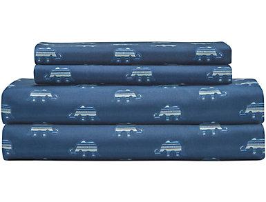 Whimsical Microfiber Elephant Indigo Twin Sheet Set, , large