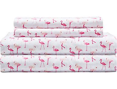 Hotel Coastal Microfiber Flamingo Twin Sheet Set, , large