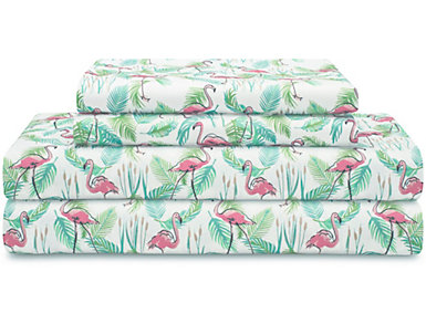 California King Print Sheet Set, Flamingo, , large