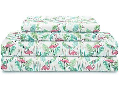 Twin Print Sheet Set, Flamingo, , large