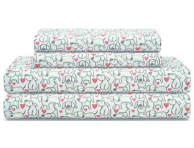 Twin XL Print Sheet Set, Dogs and Hearts, , large
