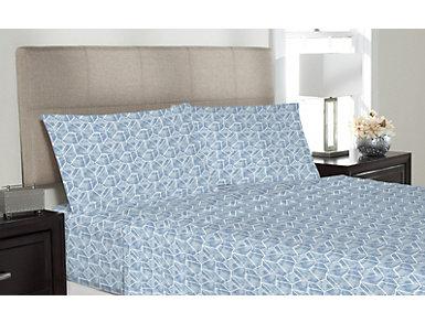 Octavious Microfiber Blue Full Sheet Set, , large