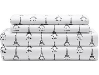 Whimsical Microfiber Paris White Full Sheet Set, , large