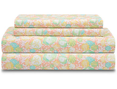 Twin Print Sheet Set, Shells, , large