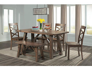 Renegade Walnut 6 Piece Dining Set, , large