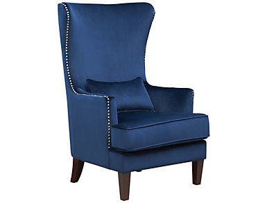 Kori Accent Chair, Navy Blue, Blue, large