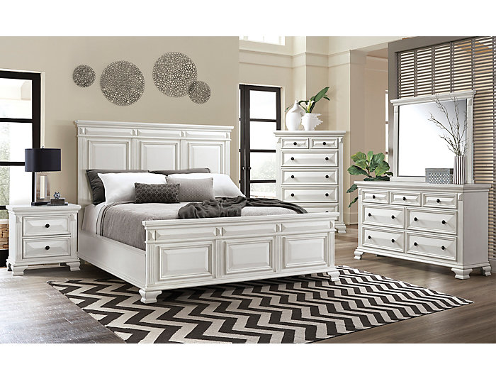 Calloway King Bedroom Set. Dresser, Mirror, Chest, King Bed. White