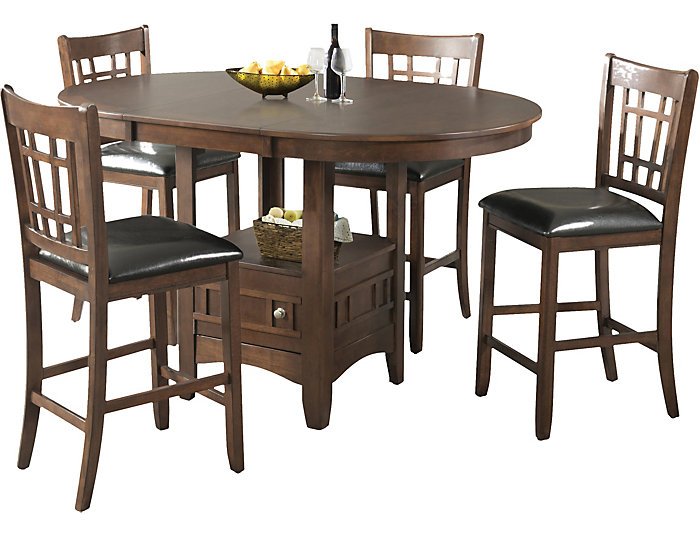 Max 5 Piece Dining Table Set. Counter Table And 4 Counter Chairs. Brown  Finish