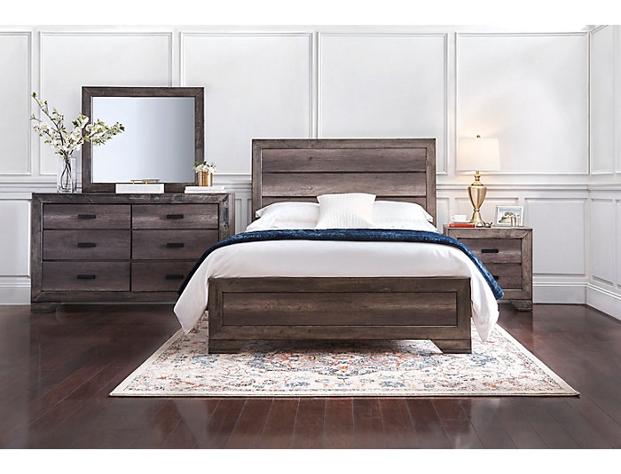 nathan 4pc queen bedroom set dresser mirror nightstand queen bed grey - Grey Bedroom Set