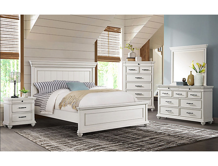 Slater Weathered White 5 Piece King Bedroom Set