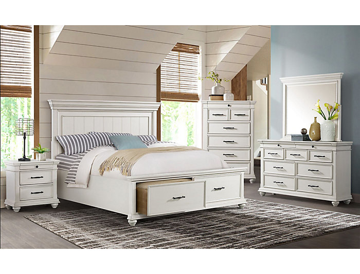Slater Weathered White 5 Piece Queen Storage Bedroom Set