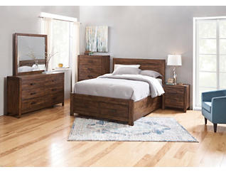 Warner Chestnut 5 Piece Queen Bedroom Set, , large