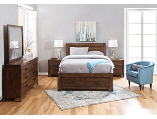 Warner Chestnut 4 Piece Queen Bedroom Set, , large