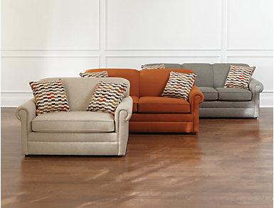 Kerry III Copper Orange Full Air Sleeper Sofa, Copper Orange, large