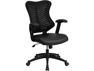 Milo Black Leather Desk Chair, , large