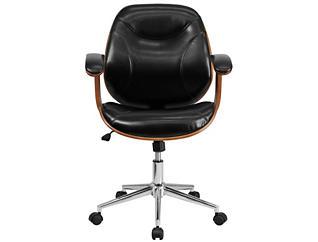Ray Mid-Back Black Swivel Desk Chair, , large