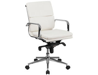 Baxter White Swivel Desk Chair, , large