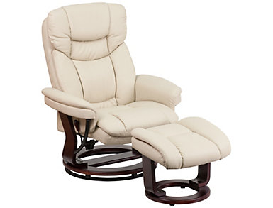 Brad Leather Recliner and Ottoman, Beige, , large