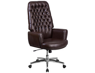 Sam Hi-Back Brown Desk Chair, , large