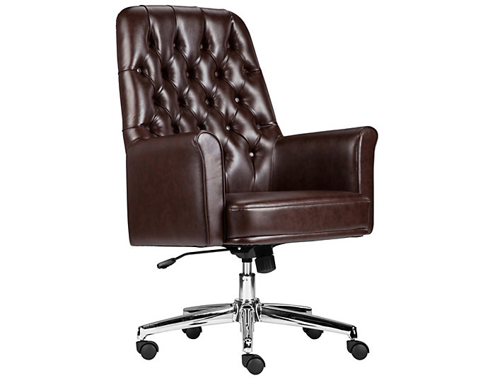Sam Low-Back Brown Desk Chair, , large