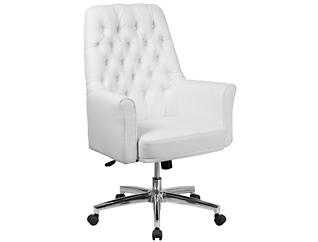 Sam Low-Back White Desk Chair, , large