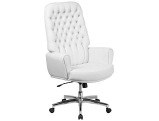 Sam Hi-Back White Desk Chair, , large