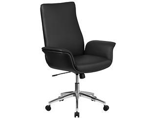 Ali Mid-Back Black Desk Chair, , large