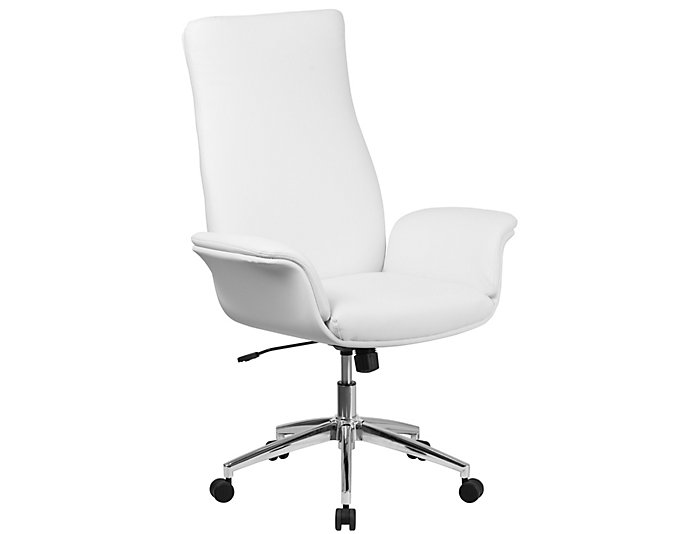 Ali Hi-Back White Desk Chair, , large