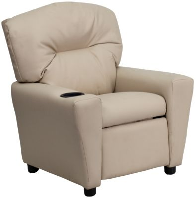 Flash Furniture Durable Vinyl Kids Recliner, Beige, Beige, swatch