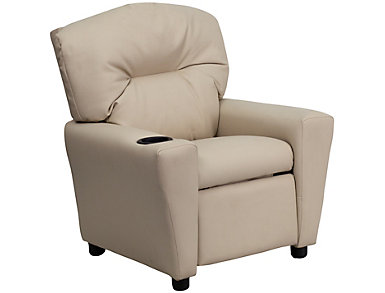 Flash Furniture Durable Vinyl Kids Recliner, Beige, Beige, large