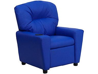 Flash Furniture Durable Vinyl Kids Recliner, Blue, large