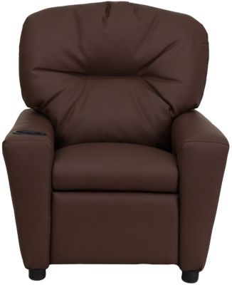 Flash Furniture Durable Vinyl Kids Recliner, Beige, Brown, swatch