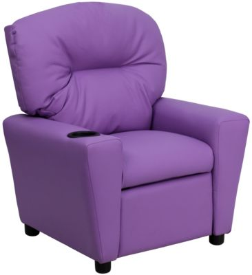 Flash Furniture Durable Vinyl Kids Recliner, Beige, Purple, swatch