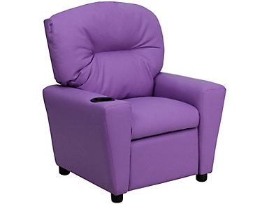 Flash Furniture Durable Vinyl Kids Recliner, Purple, large